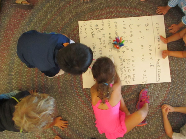 Students making classroom agreement poster